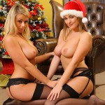 jodie-gasson-and-melissa-debling-topless-christmas-photoshoot-11