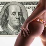 Girl with a flower underwear backdrop of money, 100 american dol