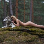 Nude Girl with Dog